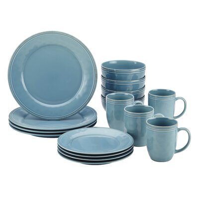 Cucina 16 Piece Dinnerware Set, Service for 4 Color: Agave Blue 55093