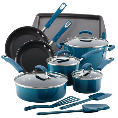 14 Piece Non-Stick Cookware Set Color: Marine Blue 17626