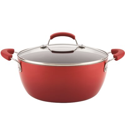 Rachael Ray Hard Enamel 5.5-qt Round Casserole Color: Red Gradient 17660