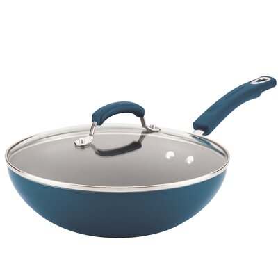"Rachael Ray Hard Enamel 12"" Nonstick Frying Pan with Lid Color: Blue 17648"