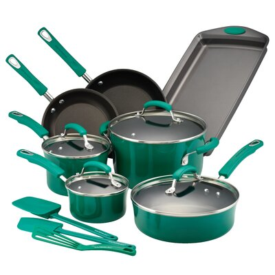 14 Piece Nonstick Cookware Set Color: Fennel Gradient 14557