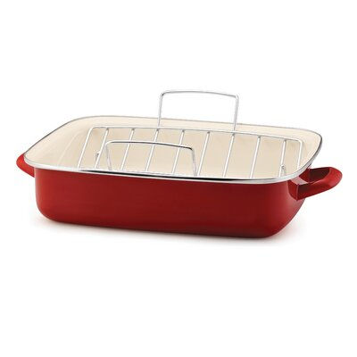 Porcelain Enamel Open Roaster with V Shape Rack in Red