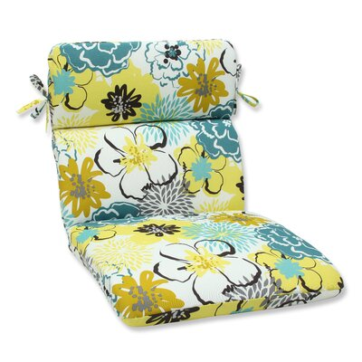 Floral Fantasy Outdoor Lounge Chair Cushion Fabric: Limeaide