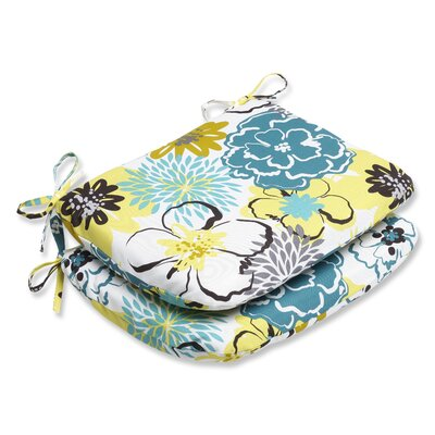 Floral Fantasy Outdoor Dining Chair Cushion Fabric: Limeaide