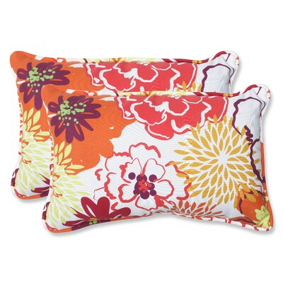 Floral Fantasy Indoor/Outdoor Throw Pillow Size: 11.5 x 18.5, Color: Raspberry
