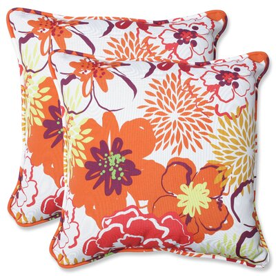 Floral Fantasy Indoor/Outdoor Throw Pillow Fabric: Raspberry