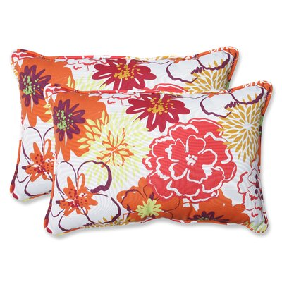 Floral Fantasy Indoor/Outdoor Throw Pillow Size: 16.5 x 24.5, Color: Raspberry
