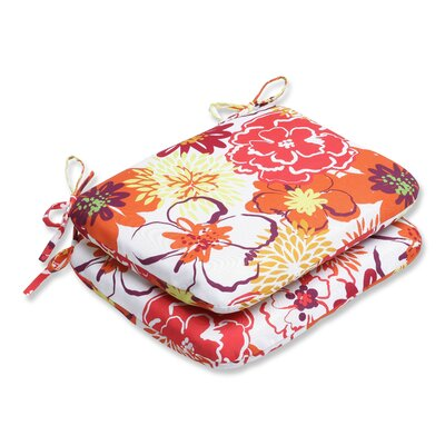 Floral Fantasy Outdoor Dining Chair Cushion Fabric: Raspberry