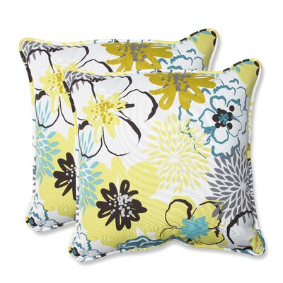 Floral Fantasy Indoor/Outdoor Throw Pillow Fabric: Limeaide