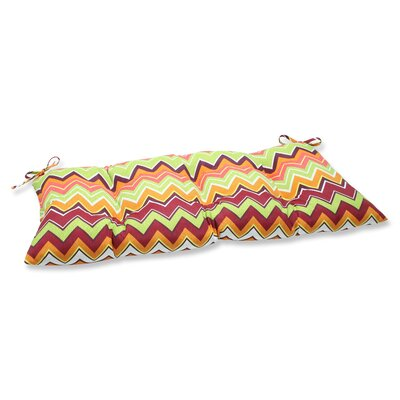 Zig Zag Outdoor Loveseat Cushion Fabric: Raspberry