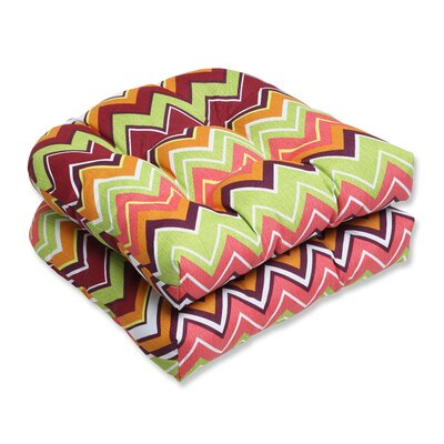 Bayridge Chevron Outdoor Seat Cushion Fabric: Raspberry