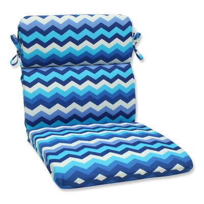 Panama Wave Outdoor Chair Cushion Fabric: Azure