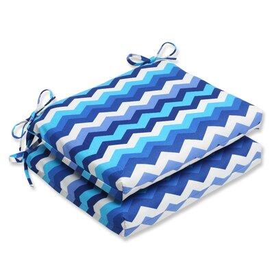 Panama Wave Outdoor Seat Cushion Fabric: Azure