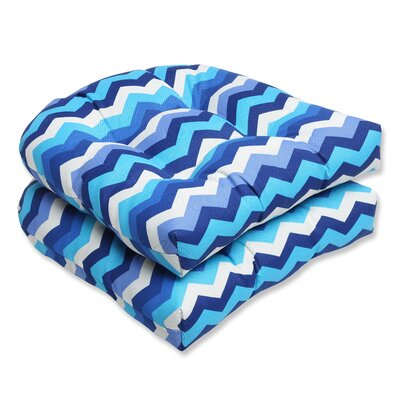 Panama Wave Outdoor Seat Cushion Fabric: Azure