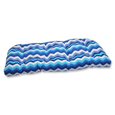 Panama Wave Outdoor Loveseat Cushion Fabric: Azure