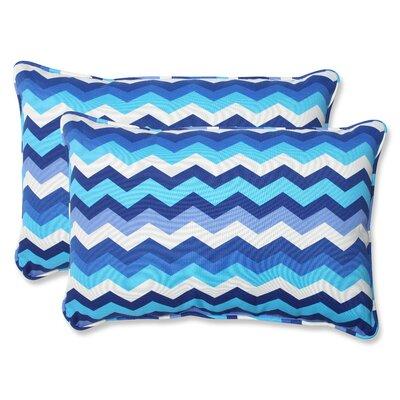 Panama Wave Indoor/Outdoor Lumbar Pillow Fabric: Azure, Size: 16.5