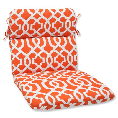 New Geo Outdoor Chair Cushion Fabric: Orange / White