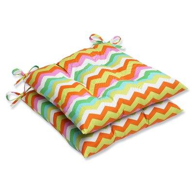 Pillow Perfect Panama Wave Wrought Iron Seat Cushion (Set of 2) - Fabric: Mimosa