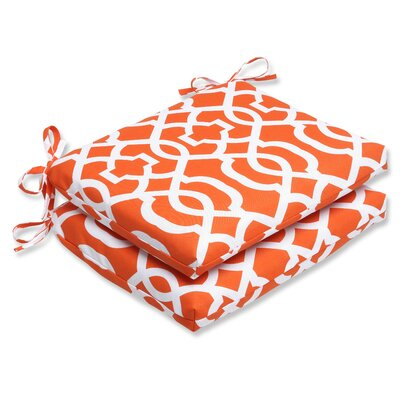 New Geo Outdoor Seat Cushion Fabric: Orange / White