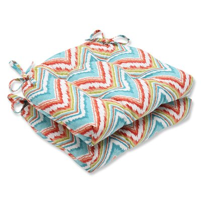 Indoor Dining Chair Cushion Fabric: Chevron Charade Capri