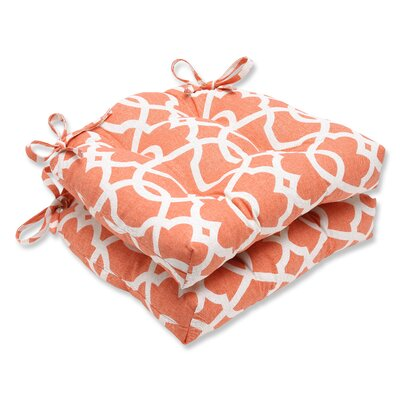 Indoor Dining Chair Cushion Fabric: Lattice Damask Tangerine