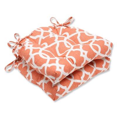 Indoor Dining Chair Cushion Fabric: Lattice Damask Tangerine