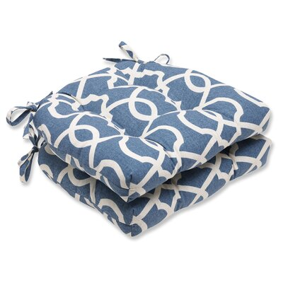 Indoor Dining Chair Cushion Fabric: Lattice Damask Yacht