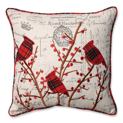 Holiday Embroidered Cardinals Throw Pillow