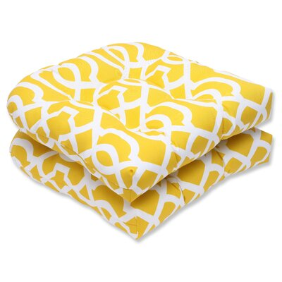 New Geo Outdoor Dining Chair Cushion Fabric: Yellow