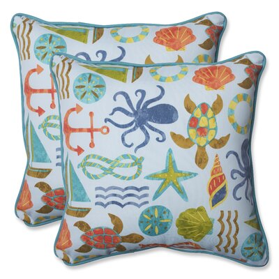 Seapoint Indoor/Outdoor Throw Pillow Fabric: Blue