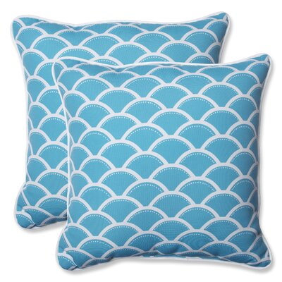 Sunny Indoor/Outdoor Throw Pillow Fabric: Turquoise