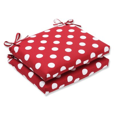 Outdoor Dining Chair Cushion Fabric: Red/White Polka Dot