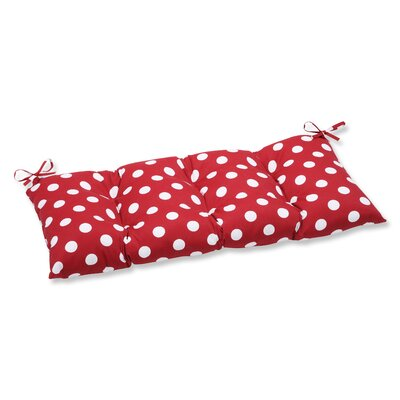 Outdoor Loveseat Cushion Fabric: Red/White Polka Dot