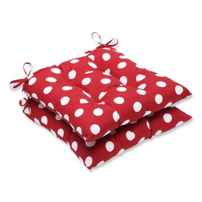 Tufted Outdoor Dining Chair Cushion Fabric: Red/White Polka Dot