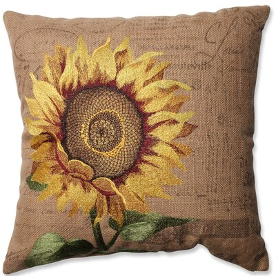 Sunflower Jute Throw Pillow