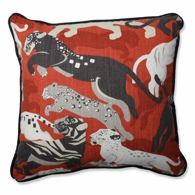 Rajita Tiger Persimmon Perfect Cotton Throw Pillow Size: 16.5