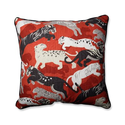 Rajita Tiger Persimmon Perfect Cotton Throw Pillow Size: 25