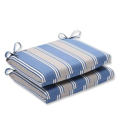 Outdoor Dining Chair Cushion Fabric: Blue/Tan Striped