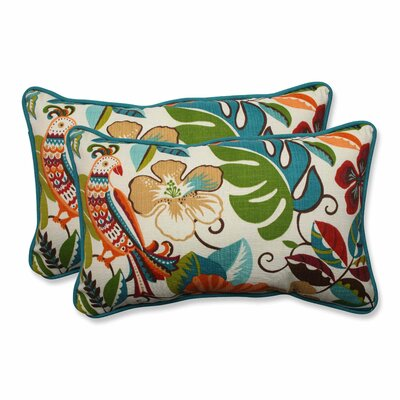 Guadaloue Indoor/Outdoor Lumbar Pillow Color: Jungle, Size: 11.5 H x 18.5 W