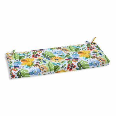 Guadaloue Florals and Leaves Outdoor Bench Cushion Color: Garden