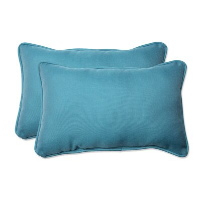 Tweed Outdoor Lumbar Pillow Color: Aqua, Size: 11.5 H x 18.5 W