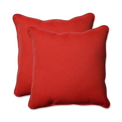 Tweed Indoor/Outdoor Throw Pillow Color: Red