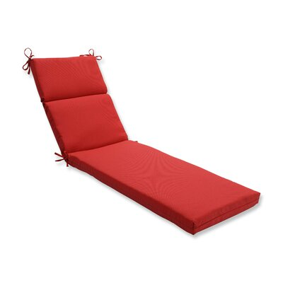 Tweed Outdoor Chaise Lounge Cushion Color: Red