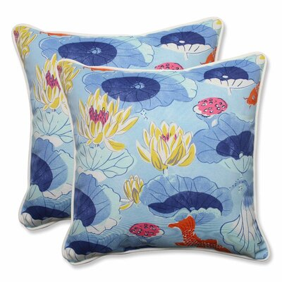 Lotus Lake Cobalt Indoor/Outdoor Throw Pillow