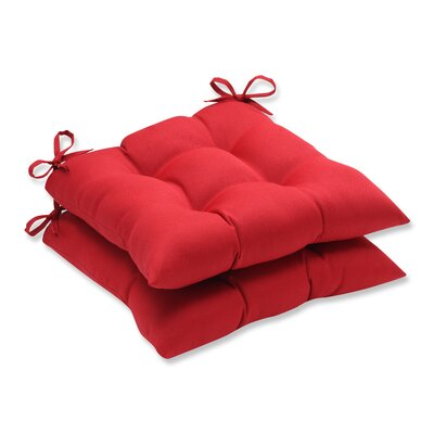 Regis Outdoor Dining Chair Cushion Fabric: Red Solid