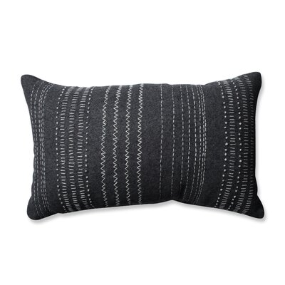 Tribal Stitches 100% Cotton Lumbar Pillow Color: Dark Melange /Gray