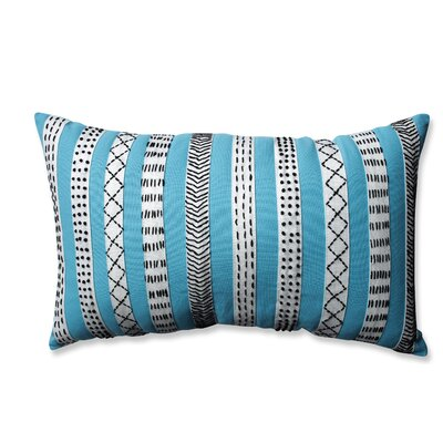 Tribal Bands Cotton Lumbar Pillow Color: Turquiose/Cream/Black
