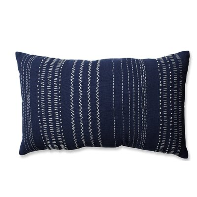 Tribal Stitches Cotton Lumbar Pillow Color: Navy/White