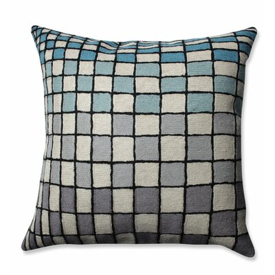 Checker Board Wool Throw Pillow Color: Gray/Blue/Cream