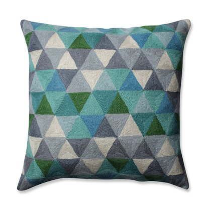 Triangle Grid Wool Throw Pillow Color: Blue/Gray